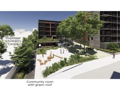 Artist impression of the children's garden showing the location of Hopetoun Children's Centre and the community room with a green roof