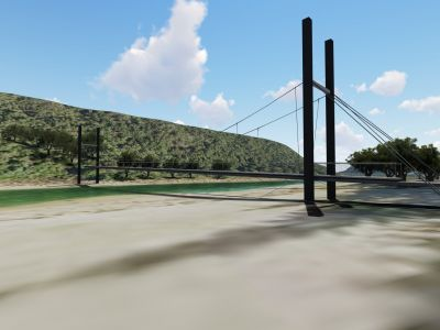 Design concept for Port Campbell Creek pedestrian bridge - ground view facing Port Campbell National Park