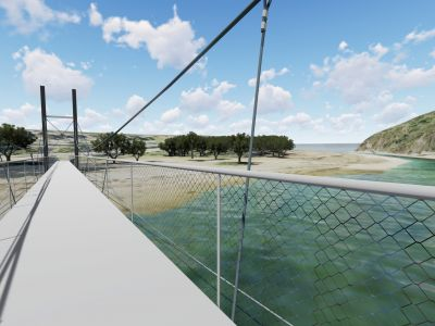 Design concept 3 for Port Campbell Creek pedestrian bridge - view on bridge facing Port Campbell township