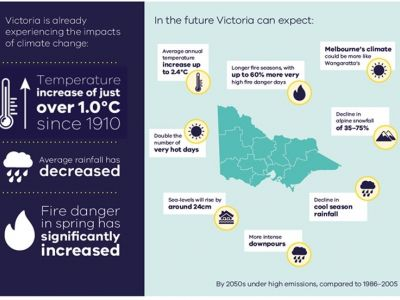 This image is from Victoria's Climate Science Report 2019 about the future expectations for Victoria's climate. These projections by the 2050s are based on a high emissions scenario, compared to 1986-2005. In the future Victoria can expect: Average annual temperate increase up 2.4 degrees Celsius, longer fire seasons with up to 60% more very high fire danger days, Melbourne's climate could be more like Wangaratta's, decline in alpine snowfall of 35-75%, decline in cool season rainfall, more intense downpours, sea level rise by around 24cm, and a double number of very hot days.