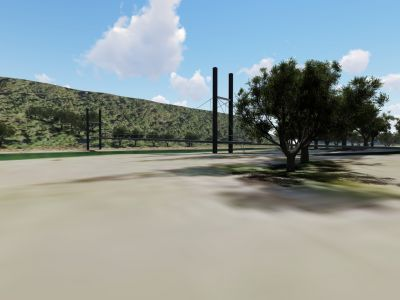 Design concept 2 for Port Campbell Creek pedestrian bridge - ground level view from township side of creek
