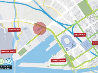 A map of Docklands demonstrating where the new primary school will be located in relation to bike paths, tram and train lines.