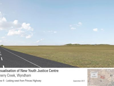 View of new Youth Justice Centre- view from Princes Freeway