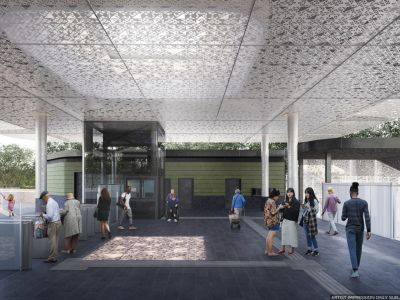Design of the new station concourse with the canopy feature. Includes Myki touch on area and station elavator.