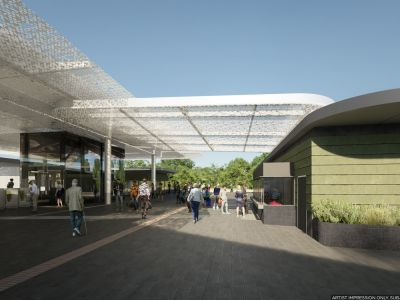 A wider view of the canopy feature at the new premium station, includes the Myki gates and station elevator..