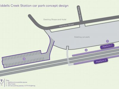 At Riddells Creek Station we are adding 50 extra car spaces, in a new car park proposed for the west of the existing car park, on land not currently being used.