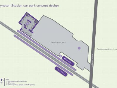 At Kyneton Station we are adding 50 extra car spaces, in a new car park proposed for the west of the existing car park on the north side of the tracks.