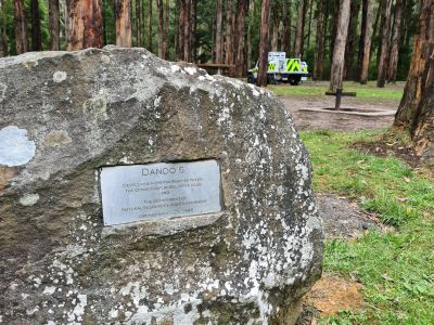 """Picture of a rock with a plaque that reads """"Dando's, Developed in partnership between the Otway Four Wheel Drive Club and the Department of Natural Resources and Environment. Opened March 29 1998"""""""