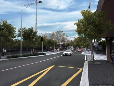 Design of Union Road at project completion with the level crossing removed.