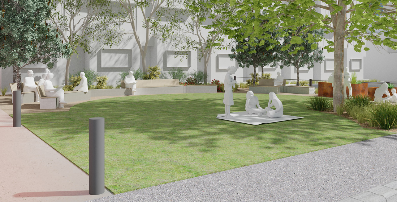 After: Proposed design for new Reid Street park (a grassed area with trees, raised planter beds, native gardens and seating)