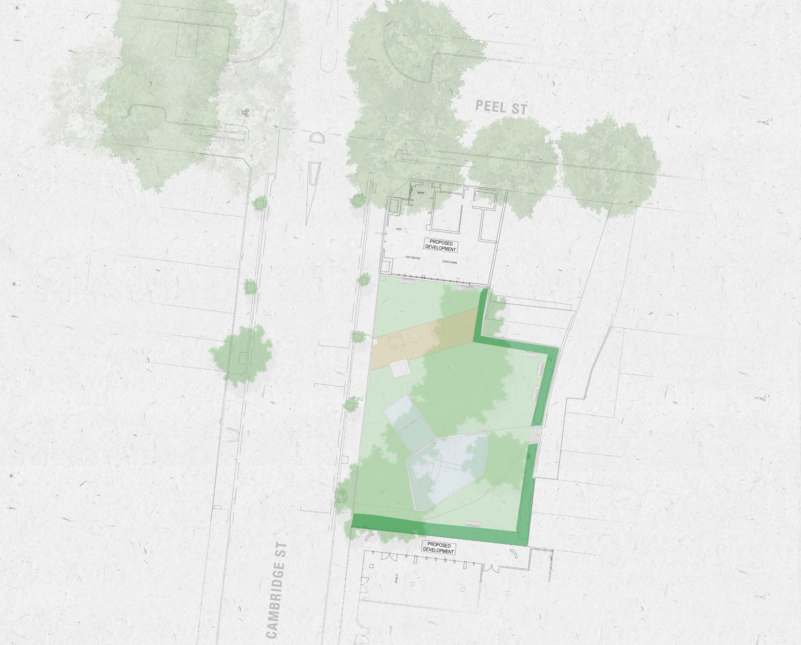 Before: Map of Cambridge Street Reserve and surrounding area as it currently looks
