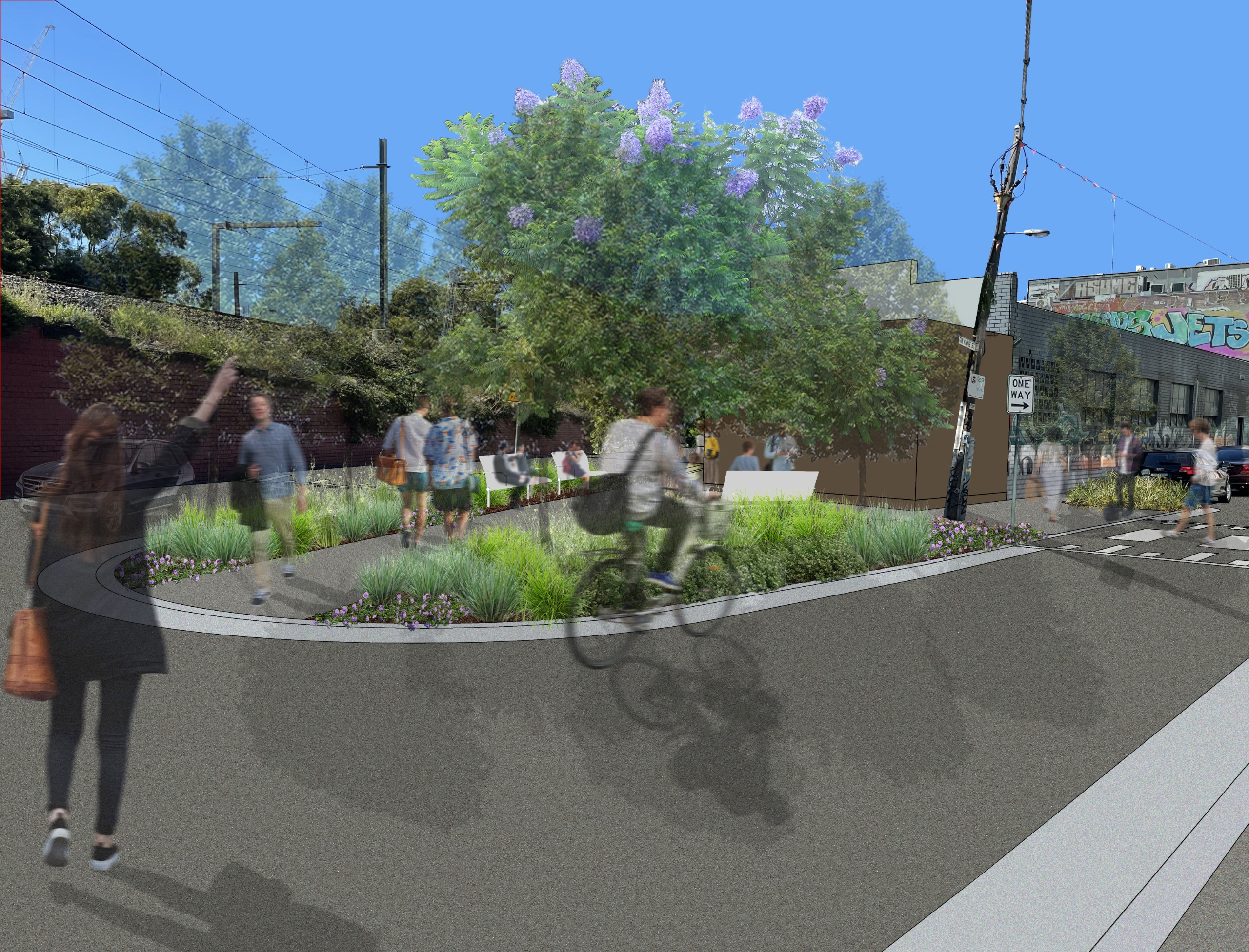 After: Artist's impression of larger urban pocket park with seating and more space