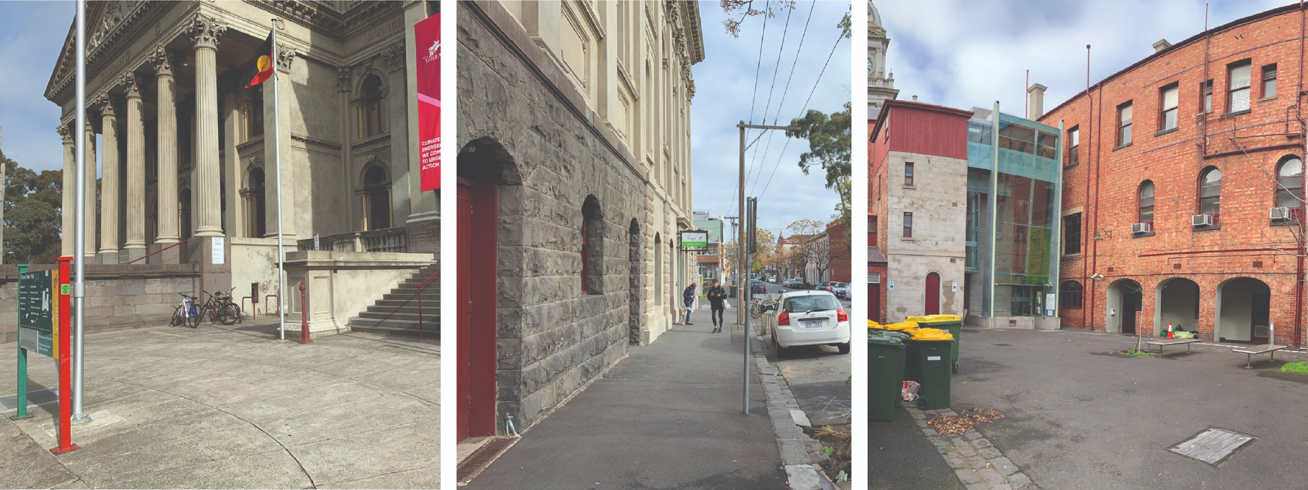 Three separate photos: one showing a concrete area outside Fitzroy Town Hall, one showing an asphalt footpath outside the Fitzroy Library, and one showing a narrow road with police cars and a police station