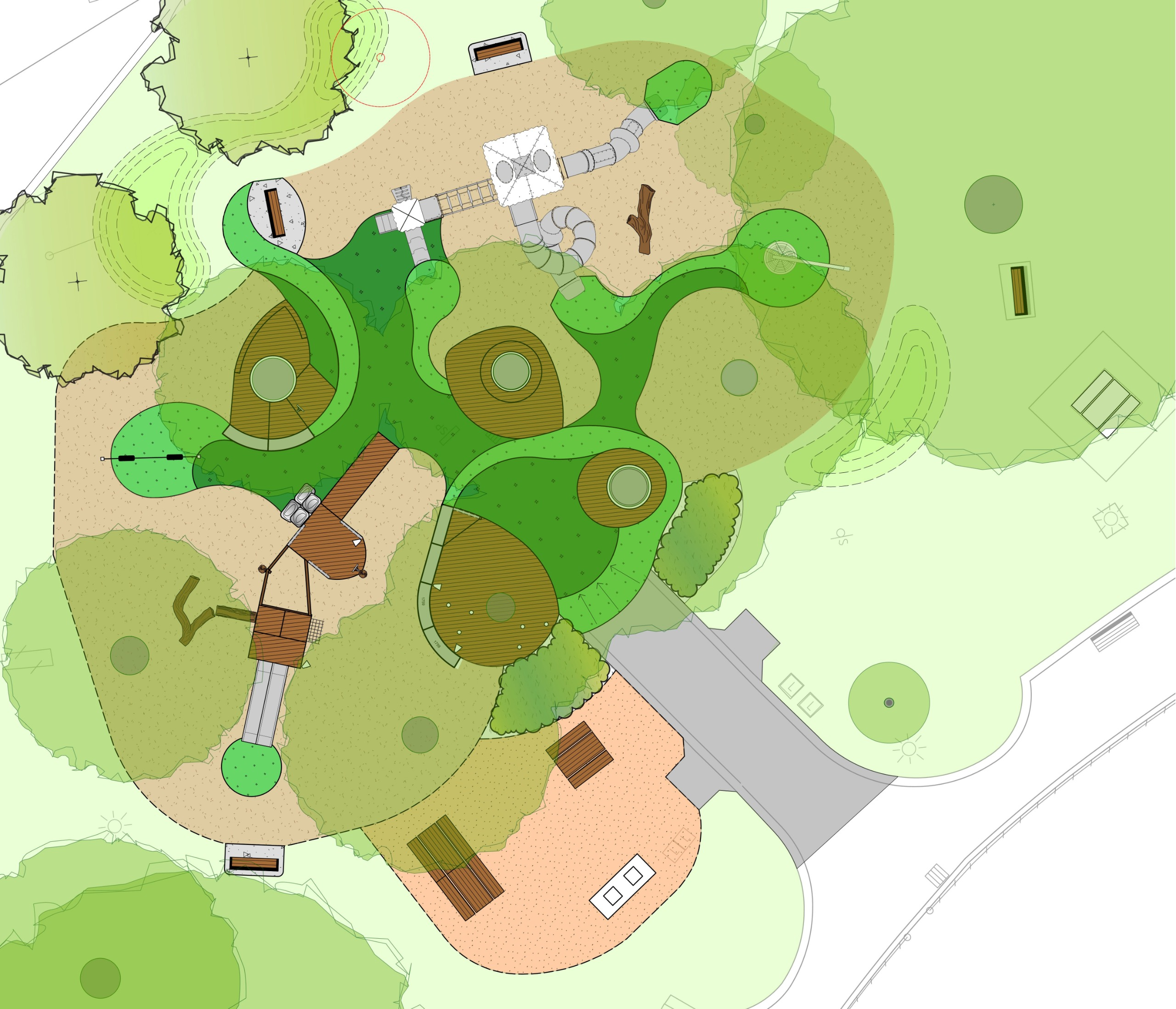 Birds eye view of the proposed playground design for Citizens Park