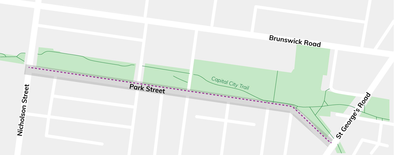 Illustration of the location of the new Park Street bike lane