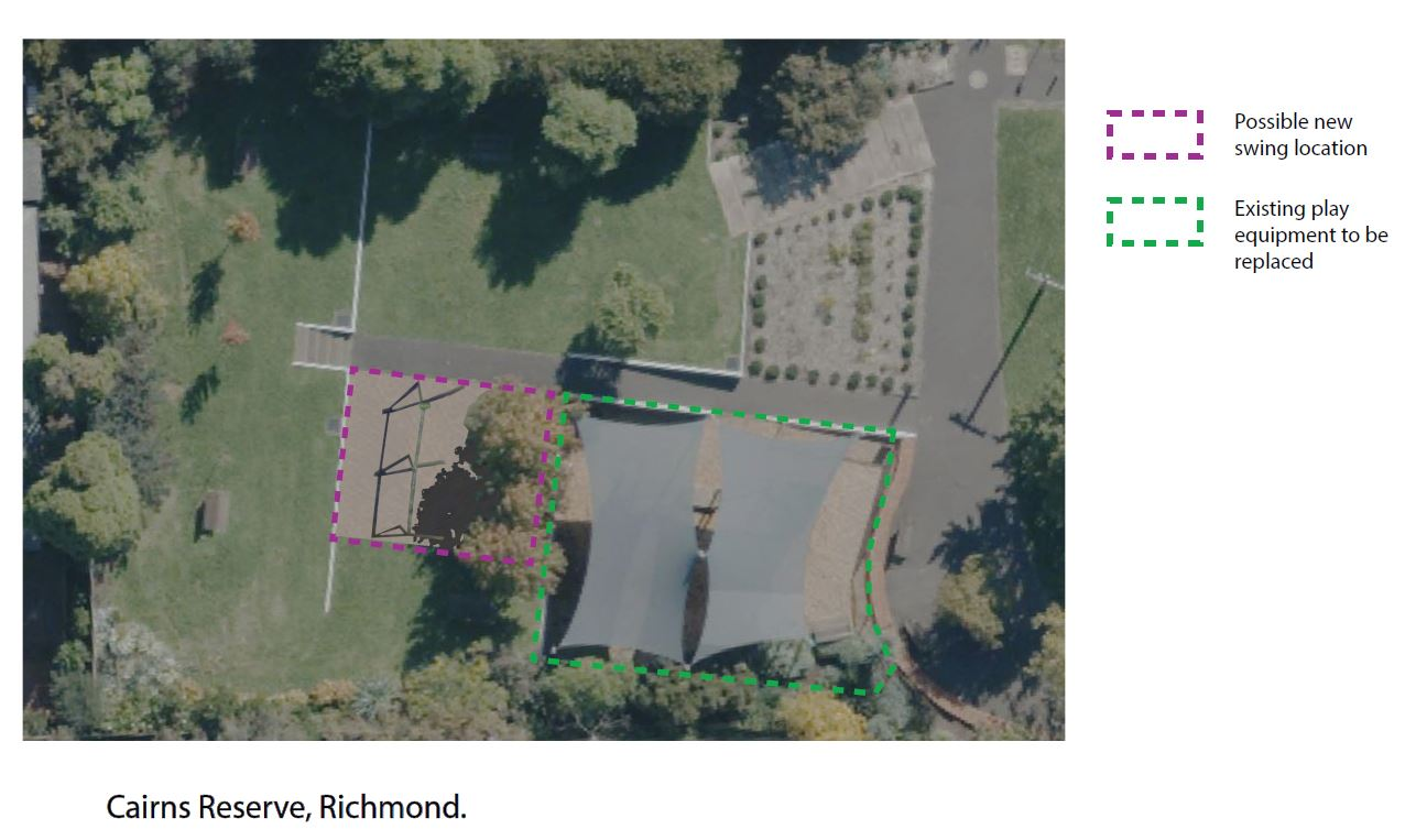 Plans for Cairns Reserve, including outline in green of existing play area and suggested location for new swings outlined in purple.