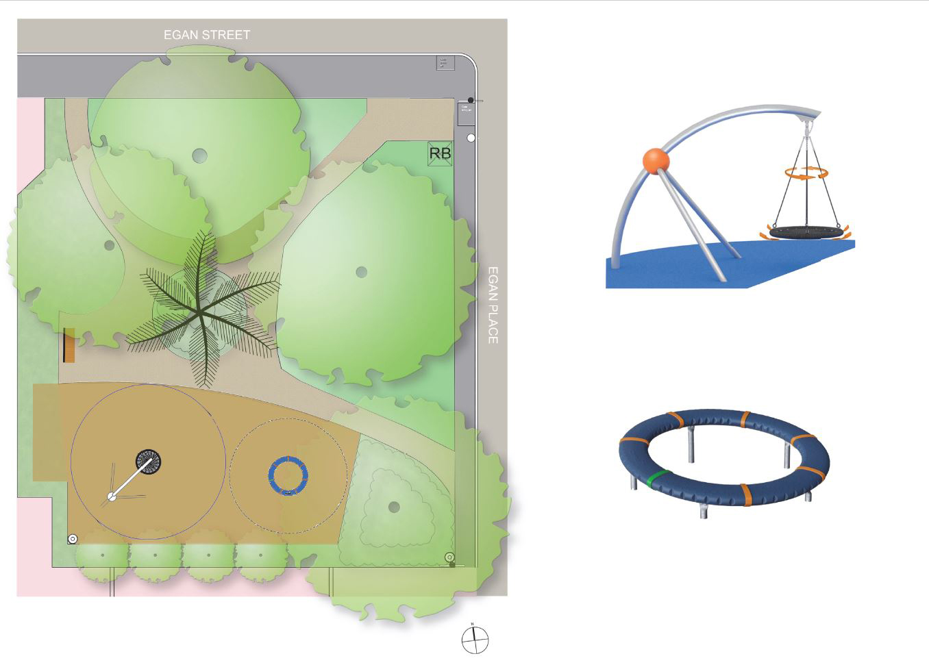 Park design, featuring basket swing and spinner.