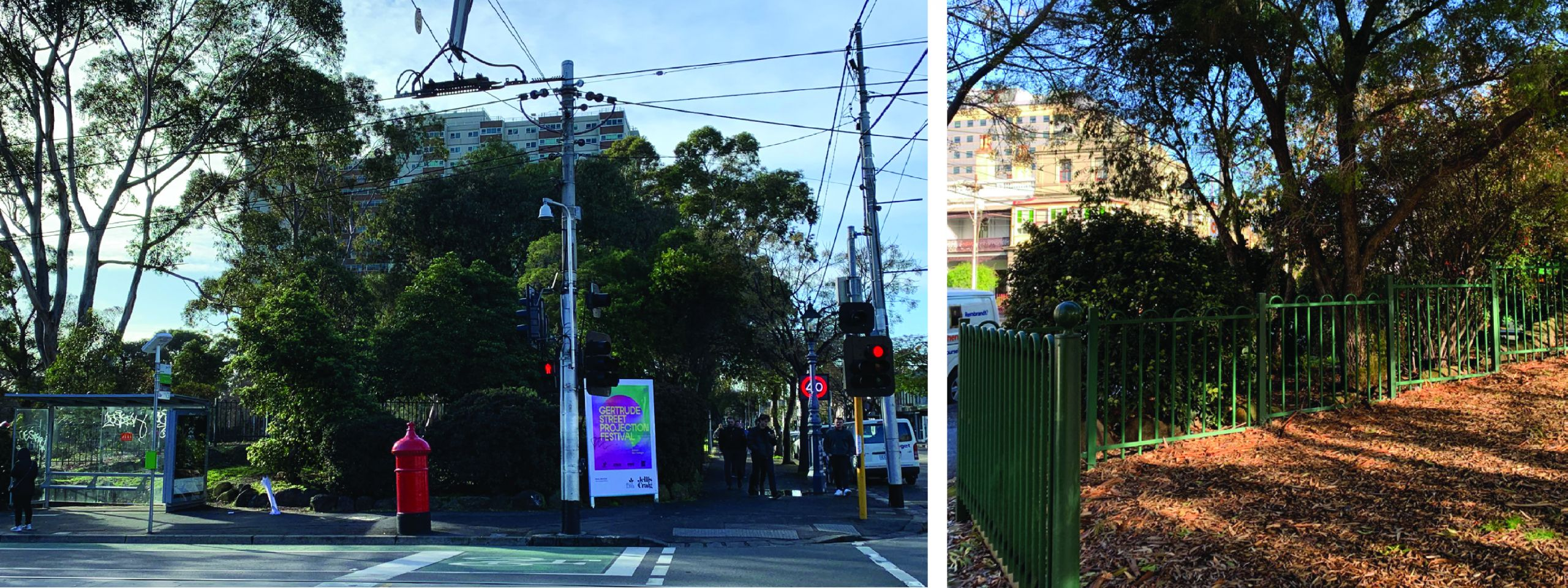 corner of Gertrude and Brunswick street, with a tram stop and lots of trees outside the Atherton Gardens estate