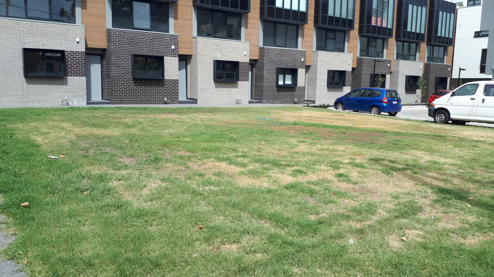 A grass-covered vacant lot on Reid Street