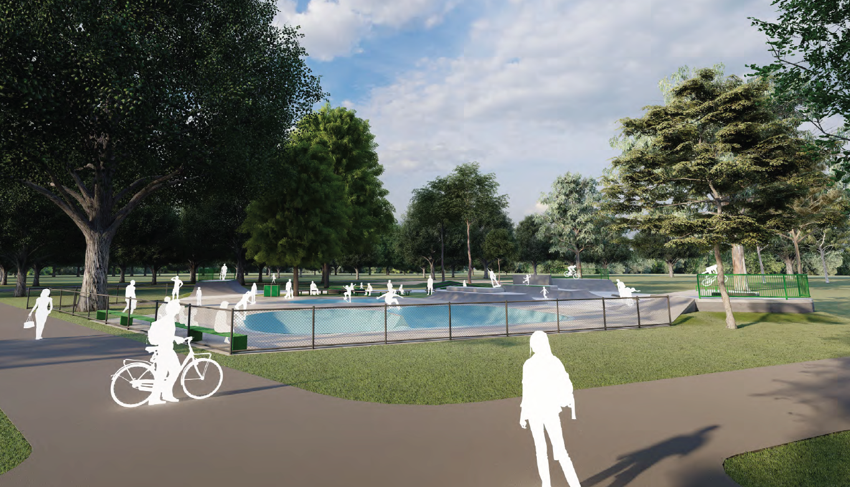 Artists impression of an upgraded skate park for Edinburgh Gardens
