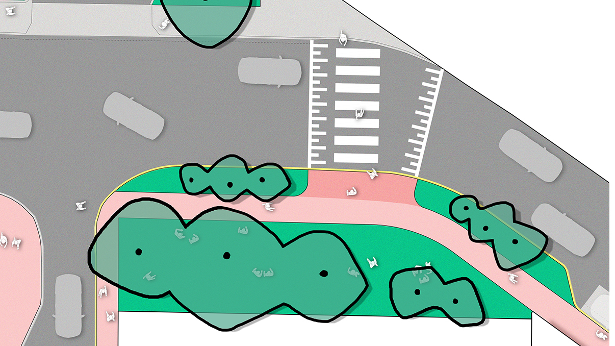 After: Birds eye illustration of Stephenson Street Reserve, after it is expanded and upgraded.