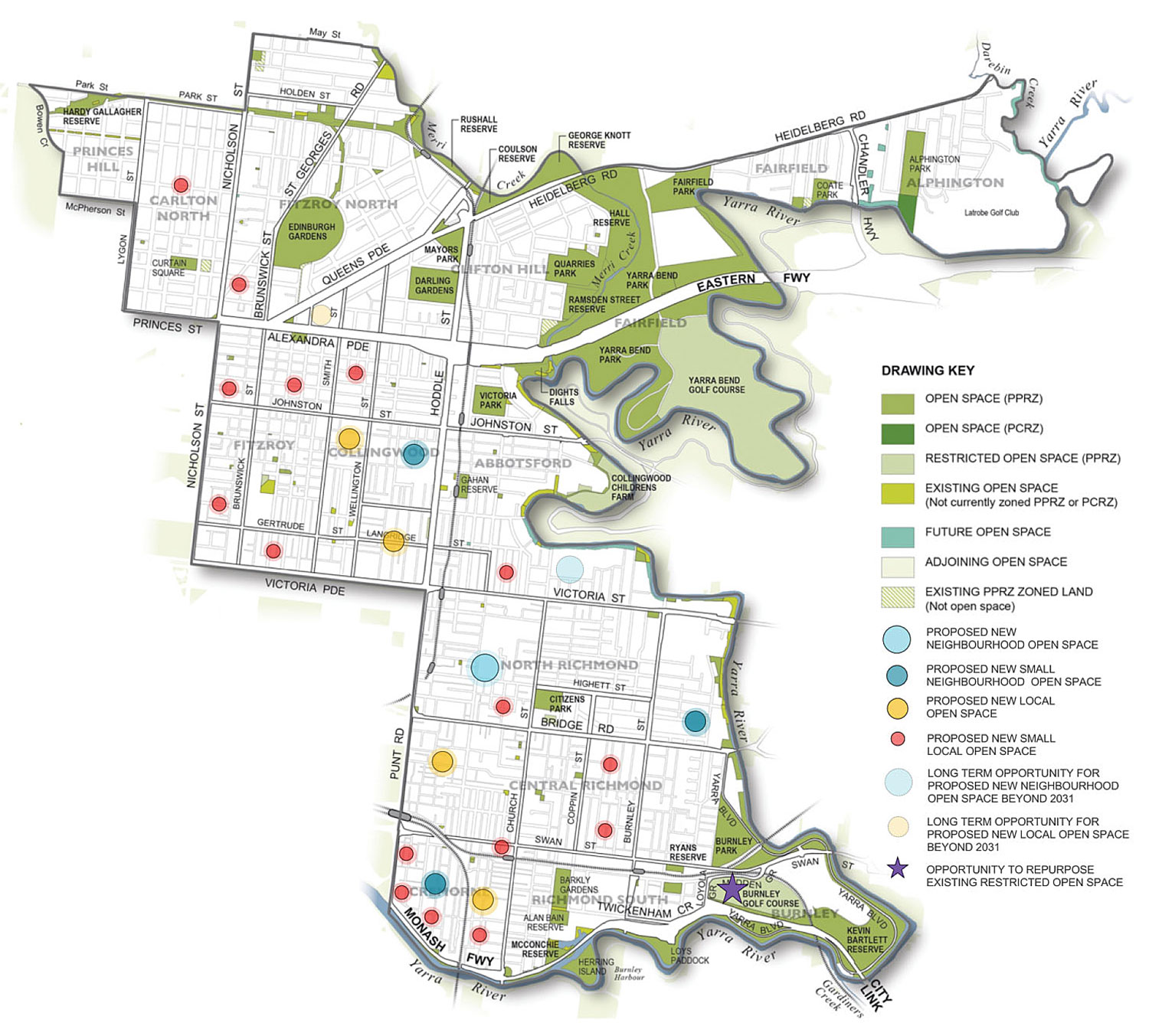 Proposed new open spaces in Yarra