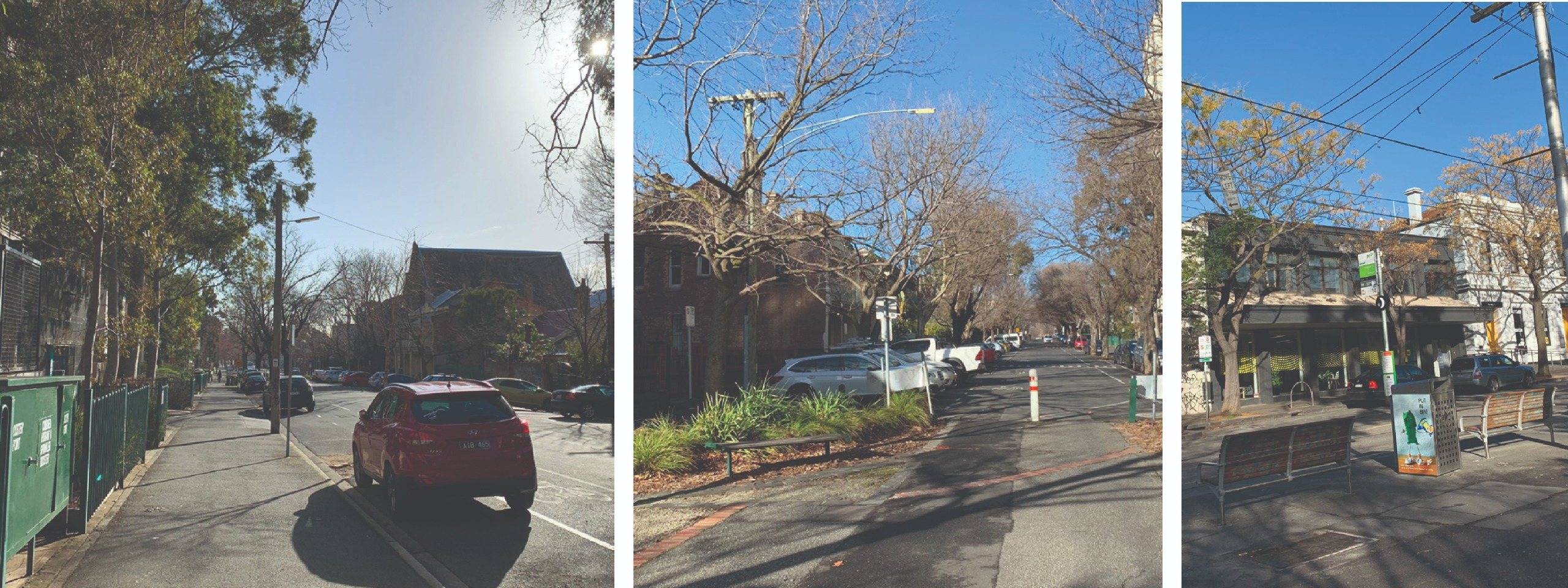 Three images: One showing a tree-lined  street with an asphalt footpath and a quiet road with ta car parked on the side, one showing the same street further along with a permanent road closure, and the final showing a tram stop at the same street.