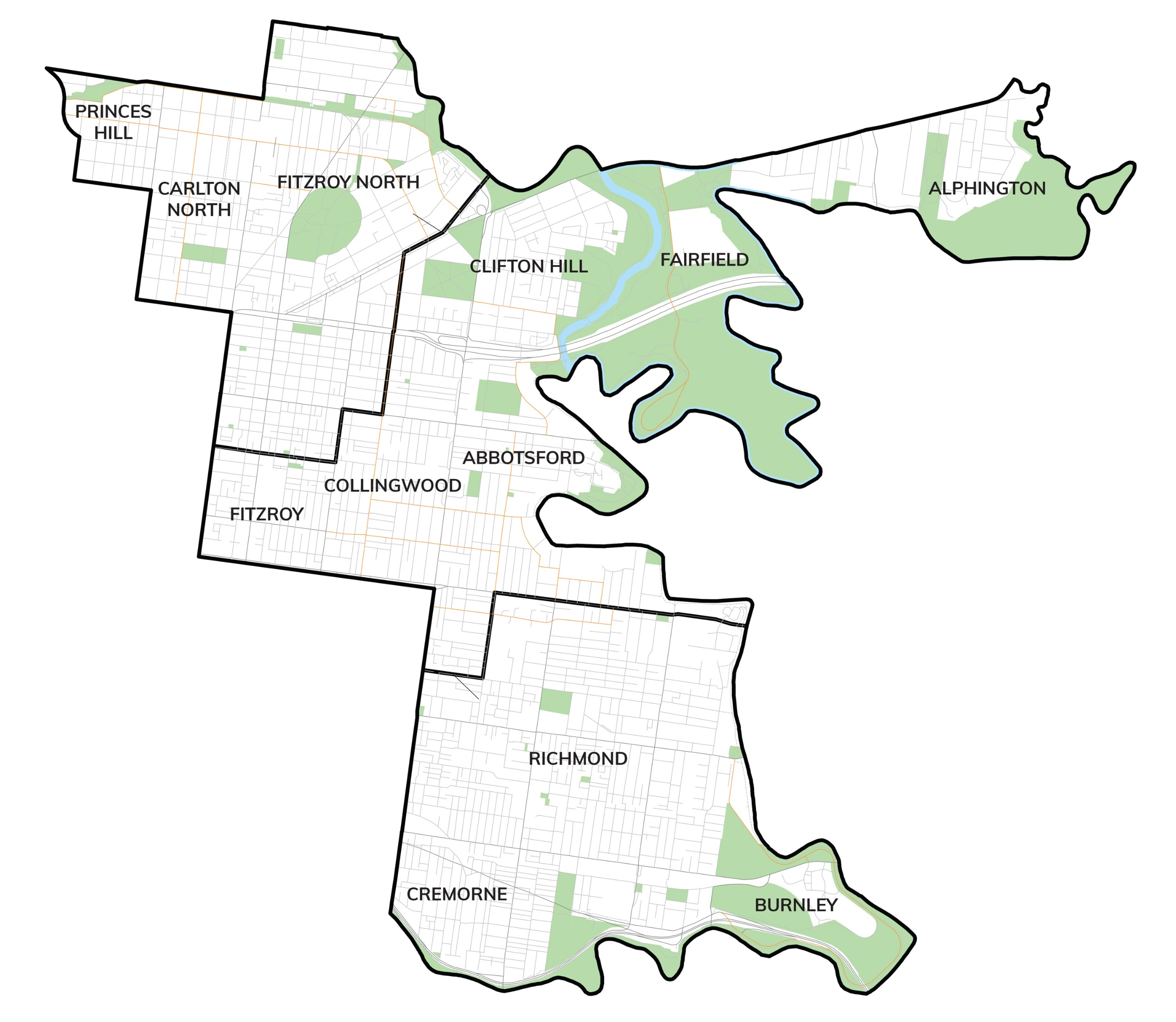 Map of Yarra City Council area