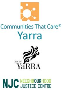 Communities That Care logo, City of Yarra logo, Neighbourhood Justice Centre logo