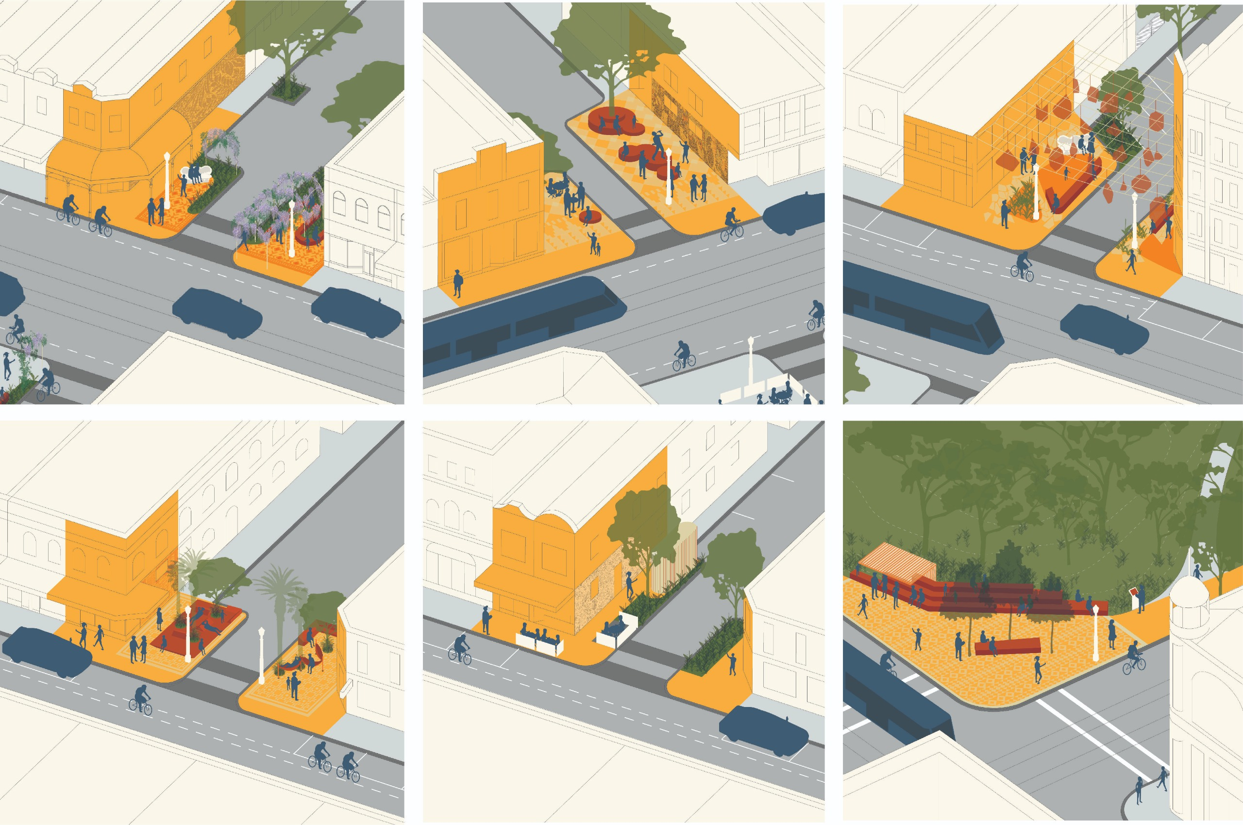 Designs of street corners showing different styles of community spaces, including small gardens, lighting features, seating options and public art