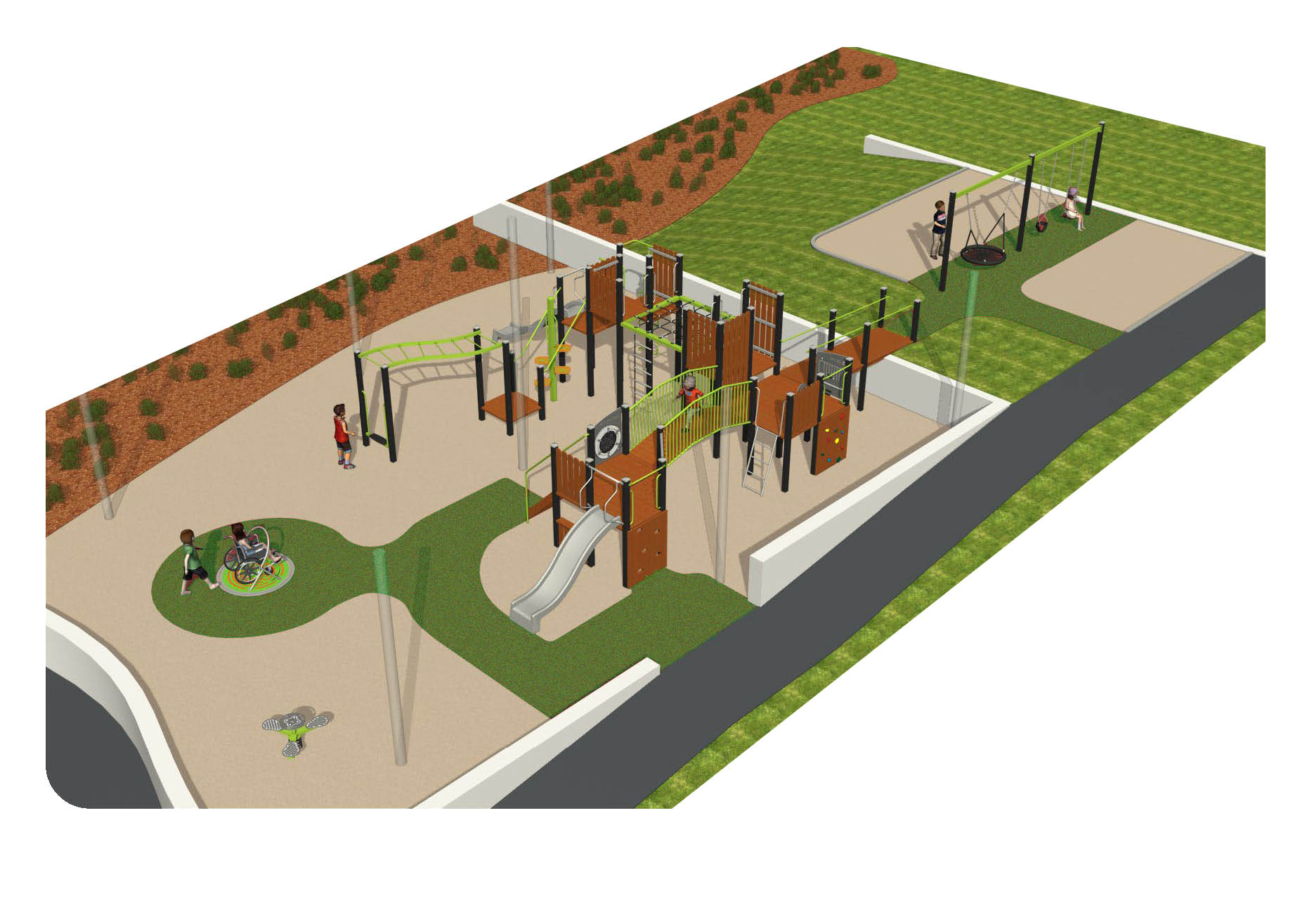 Detailed design of new playground, including rocker, swings and spinners and