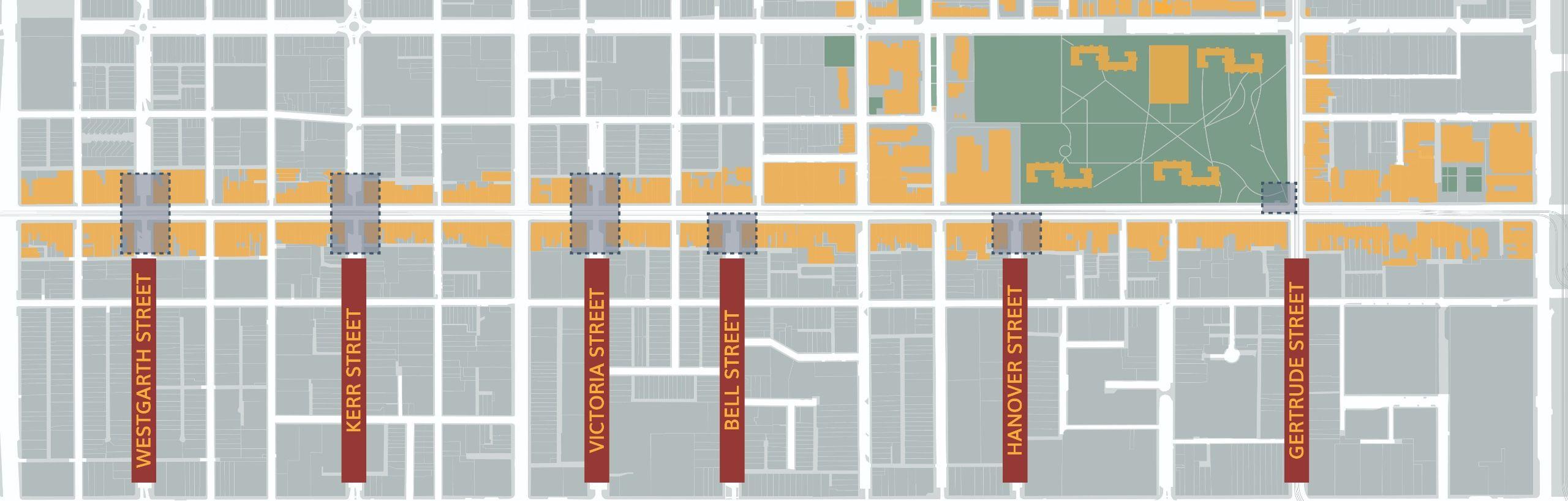 Map of Brunswick Street, showing Westgarth Street, Kerr Street, Victoria Street, Bell Street, Hanover Street and Gertrude Street