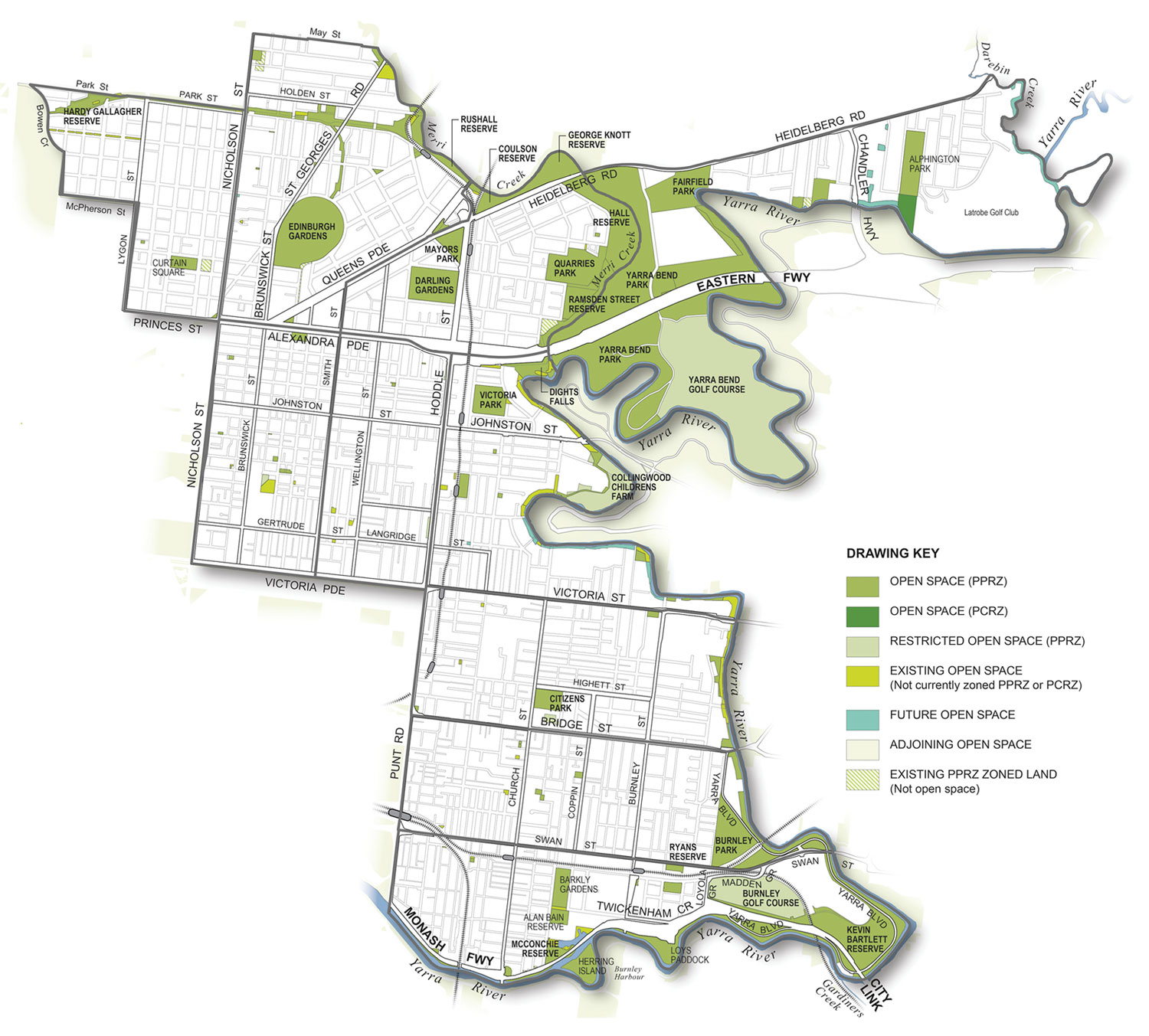 Existing open space in Yarra