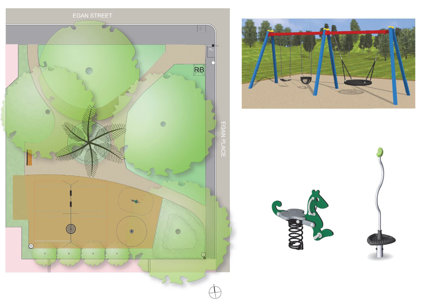 Park design, featuring double and basket swing, rocker and spinner