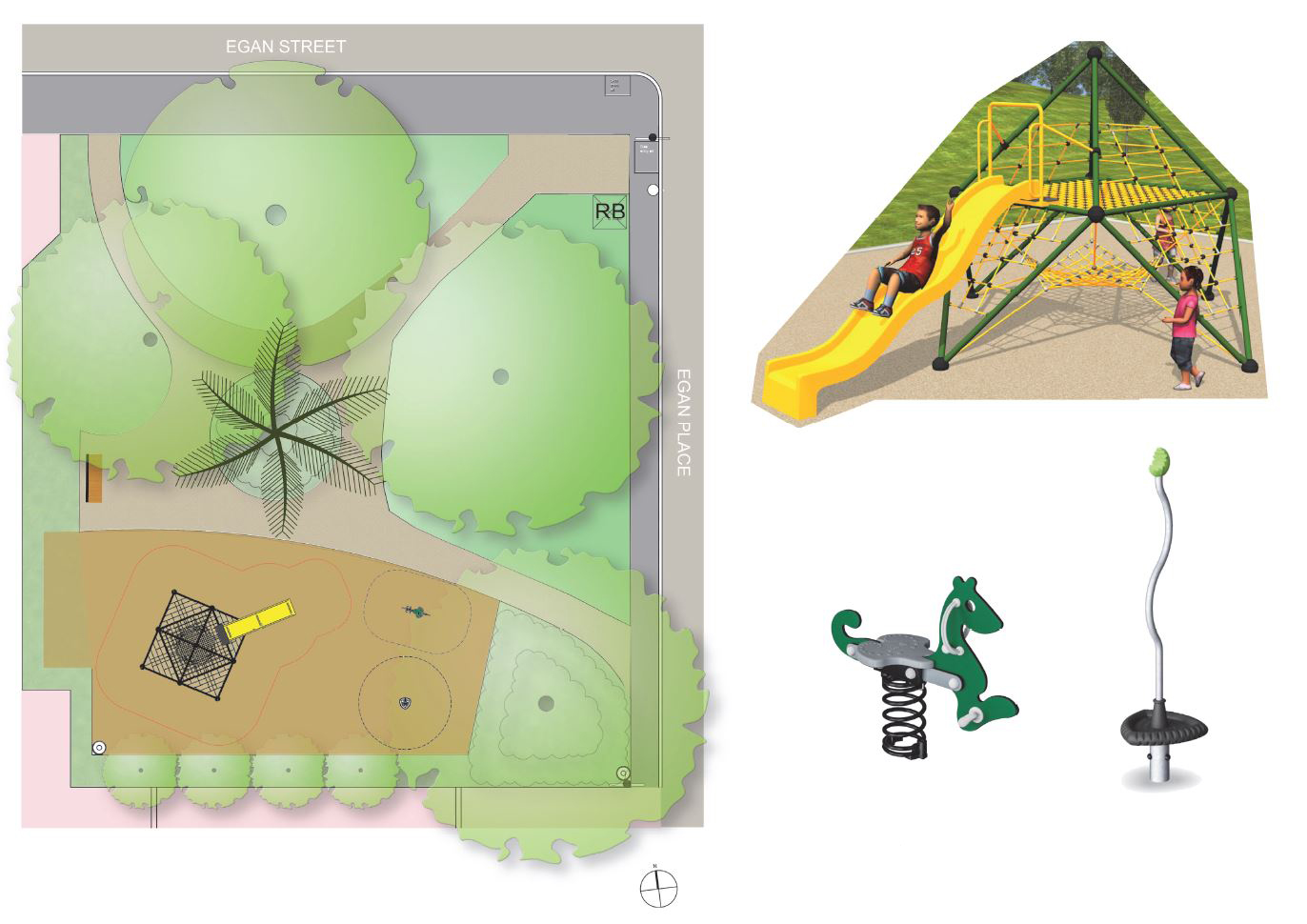 Park design, featuring climbing frame and slide, spinner and rocker.