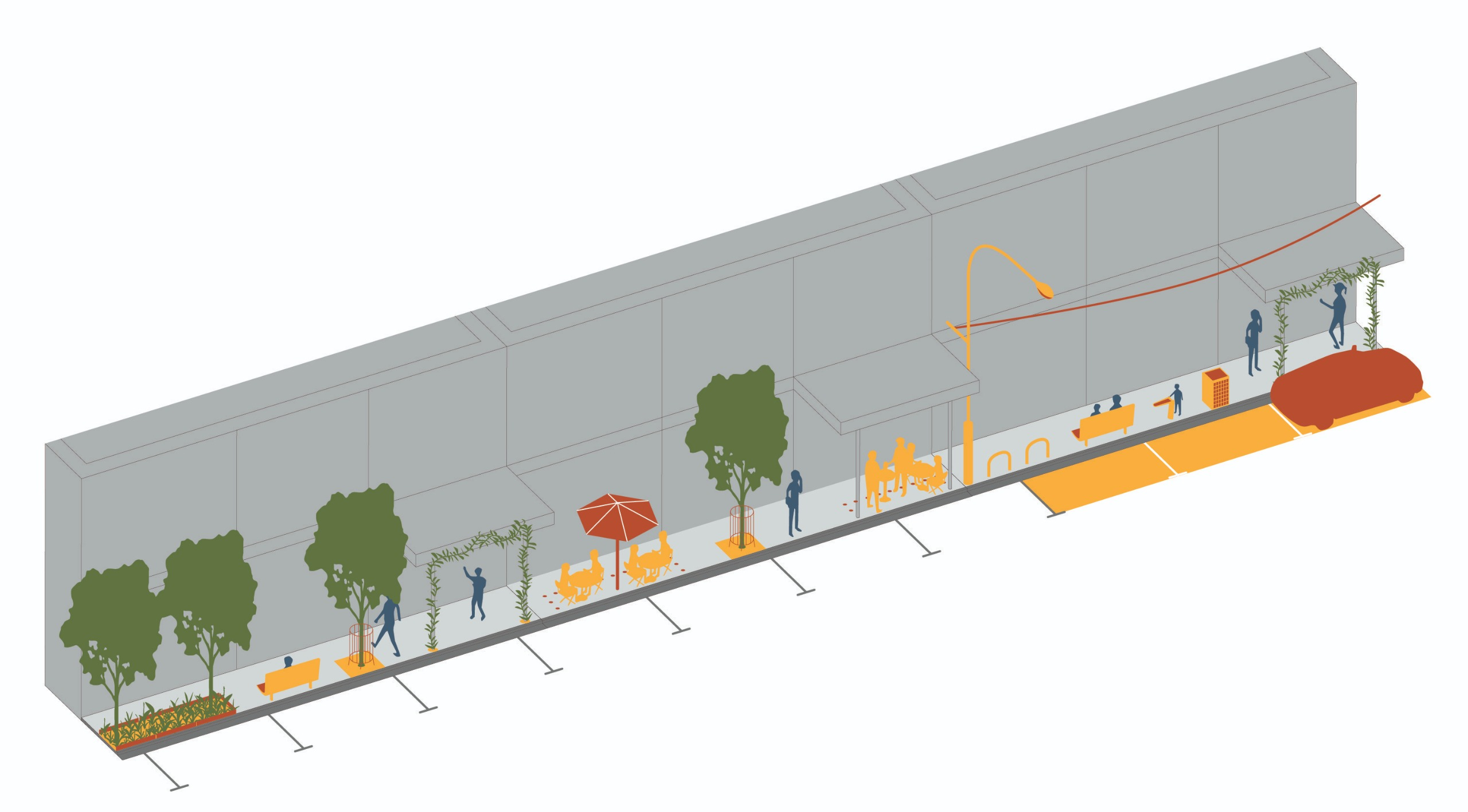 A mock up of a street, showing trees, pedestrians, bike hoops, outdoor dining, bins, awnings and car parks.