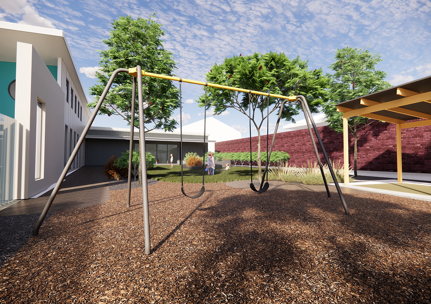 A graphic render of what the outdoor space will look like after the upgrade is complete.