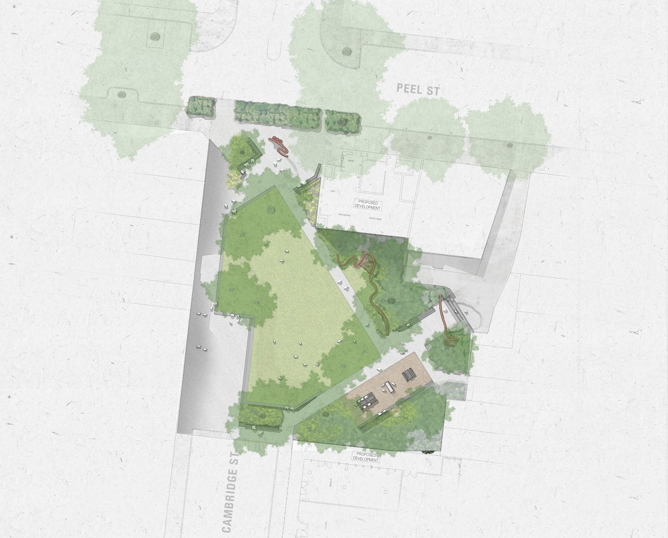 Bird's eye view of proposed design for Cambridge Street Reserve