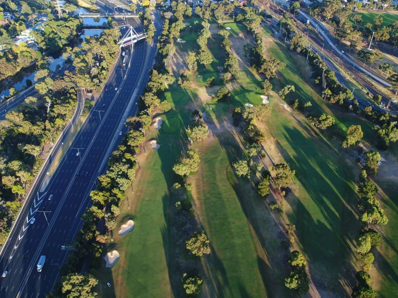 Aerial photo of the golf course taken by a drone.