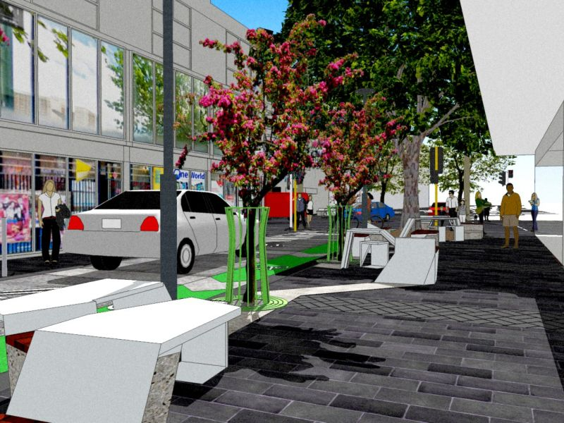 Lennox Street seating and street trees