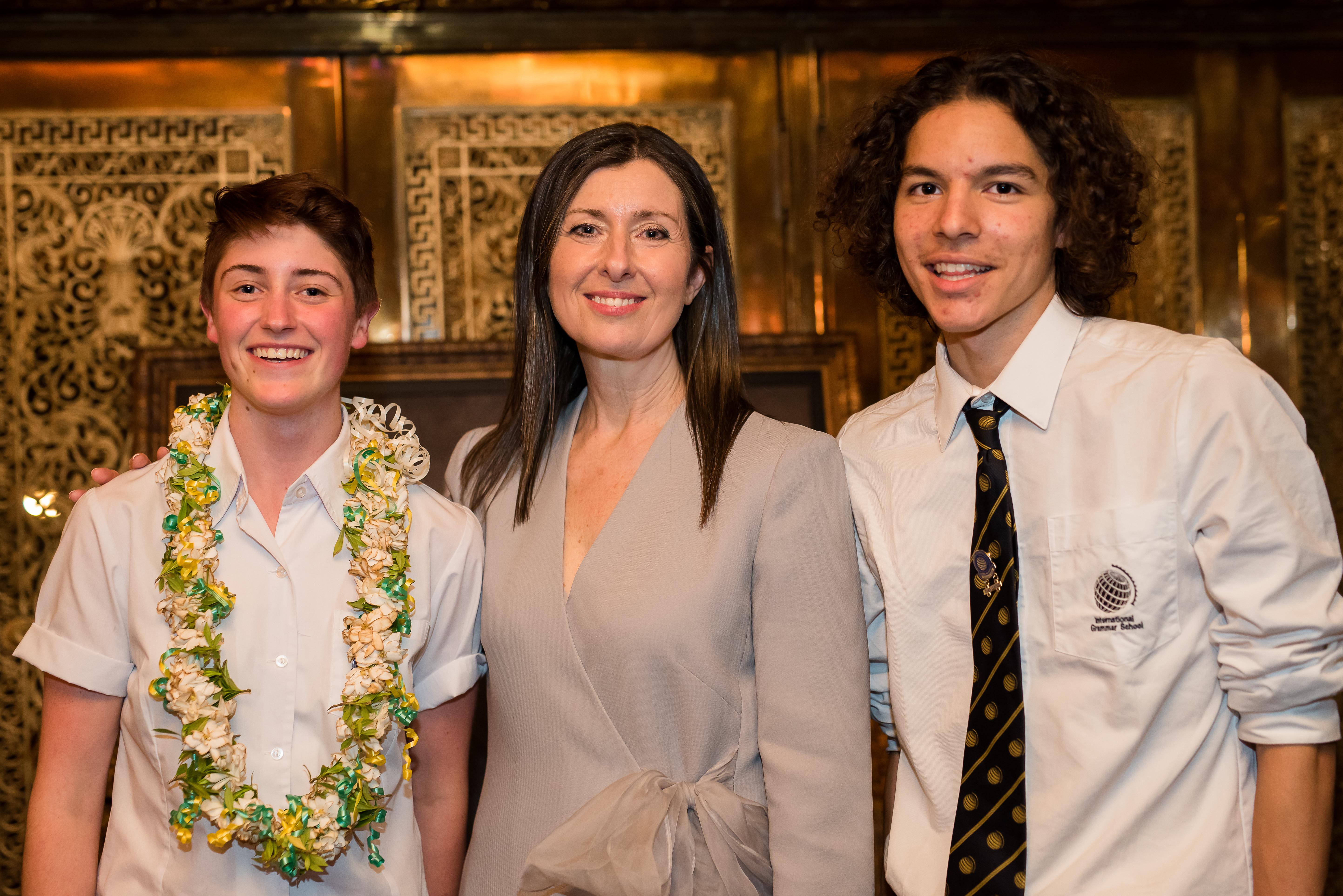 IGS 2019 Head Girl Saskia Scott-Hickie and Head Boy Fadi Al Hatu with Principal Shauna Colnan