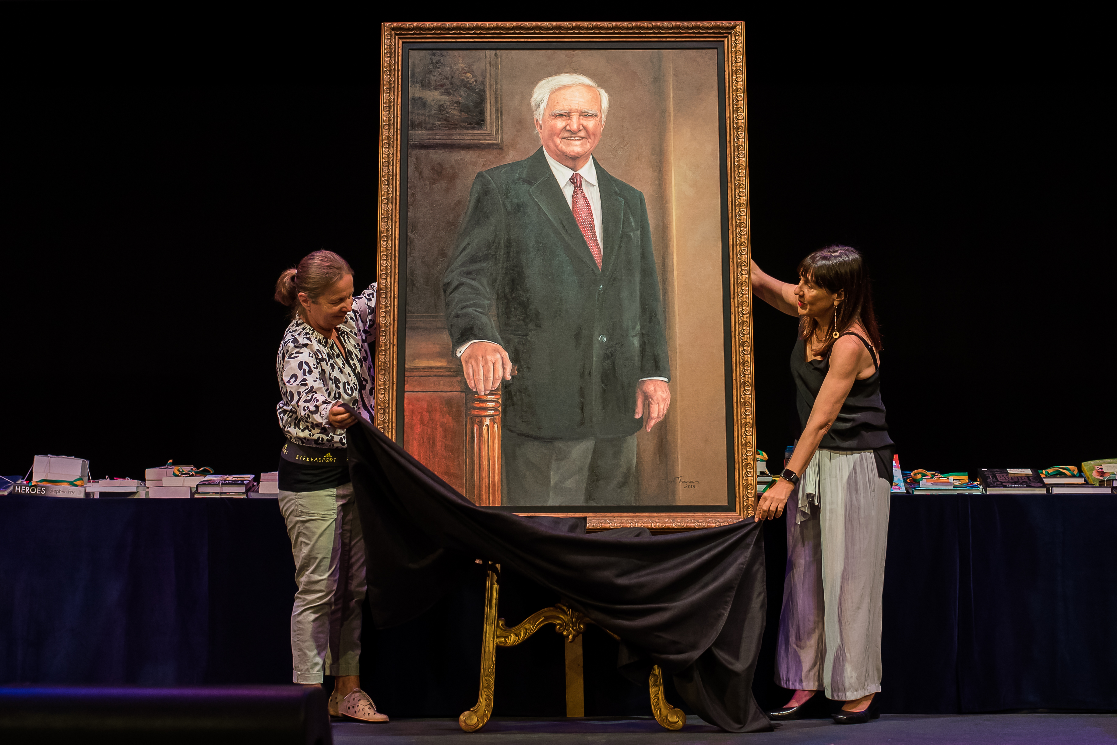 A portrait of IGS founder Reg St Leon OAM is unveiled