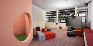 Rotating plant wall and breakout spaces