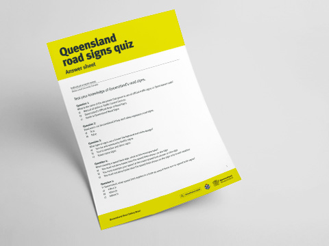 Queensland Road Signs Quiz - Answer Sheet