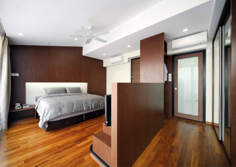 bedroom divider. This landed home s bedroom may be large and spacious  but it marred by an angled roof drop ceilings that leave awkward corners The thick divider Bedroom Dividers For Every Type Of Home Lookboxliving