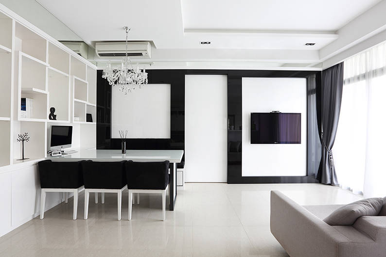 See how black and white makes this 3-room HDB look much bigger than ...