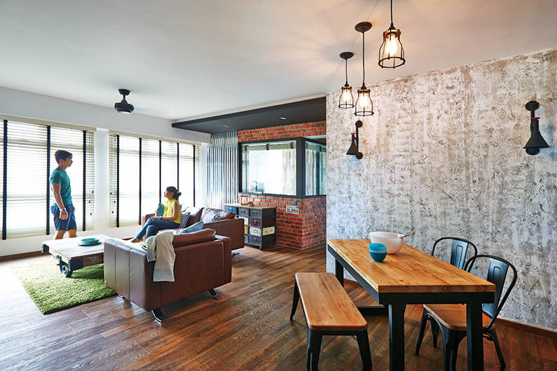 This new york inspired 5 room hdb flat oozes industrial for Inspire interior design singapore