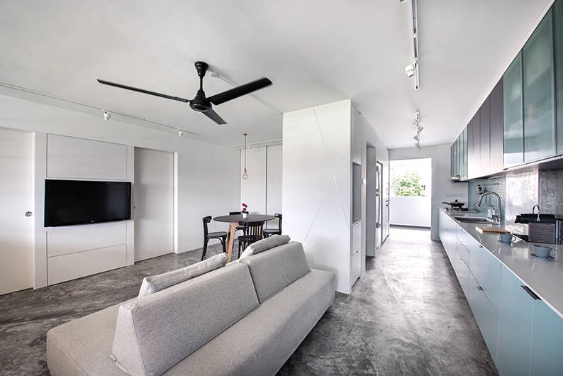 This 4 room hdb flat is transformed into an open concept for Kitchen design for 4 room hdb flat
