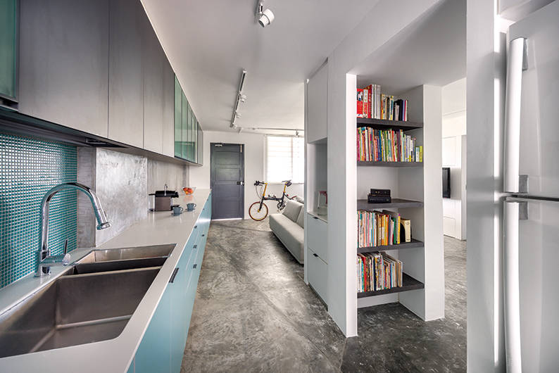 This 4 room hdb flat is transformed into an open concept wonder lookbox living Hdb open concept kitchen design