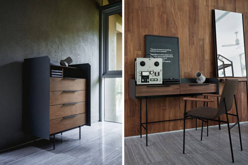 Commune_Linear_5-drawer-chest-_Console-table-with-armchair